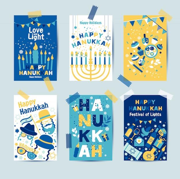 Ensemble de couleurs six cartes de voeux hanukkah avec des bougies