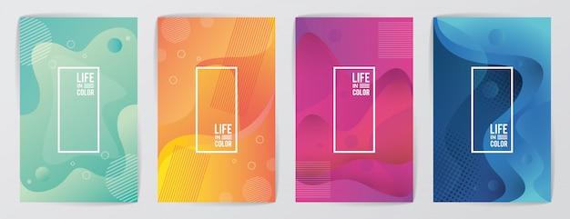 Ensemble de couleurs de vagues avec la vie en couleur abstrait