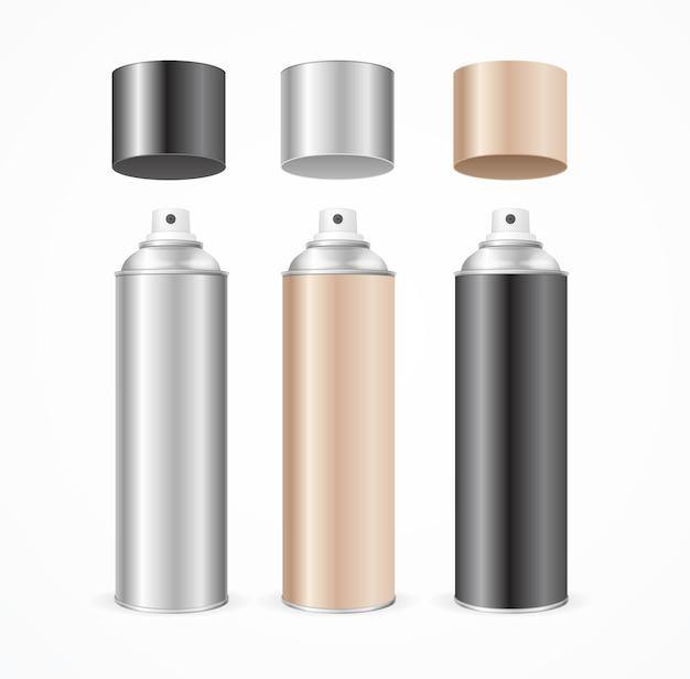 Ensemble de couleurs vierges de modèle de pulvérisateur en aluminium.