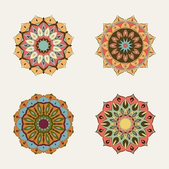 Ensemble de couleurs vintage mandala