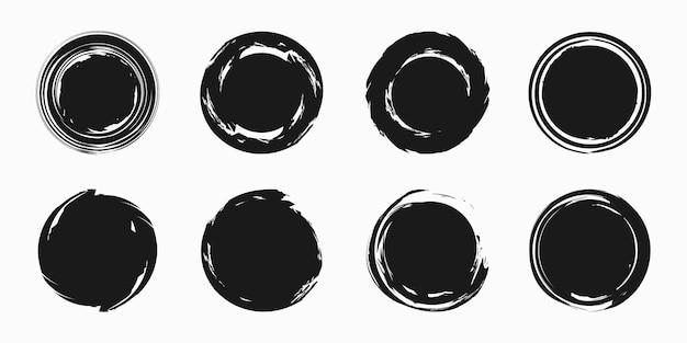 Ensemble de coup de pinceau d'encre de cercle, symbole de bouddhisme de peinture de calligraphie japonaise, illustration vectorielle.