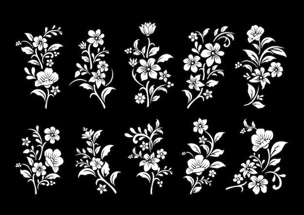 Ensemble de coupe de fleurs noir et blanc