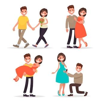 Ensemble d'un couple amoureux homme et femme. marchez, une déclaration d'amour et de câlins. dans un style plat