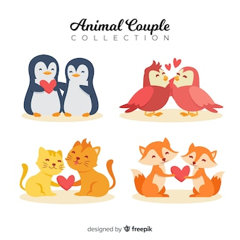 Ensemble de couple animal valentine dessinés à la main