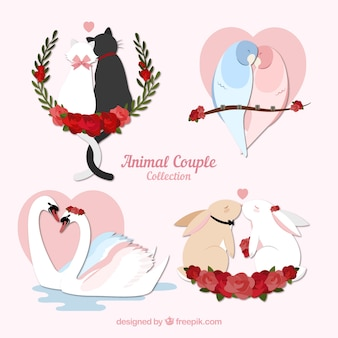 Ensemble de couple animaux valentine