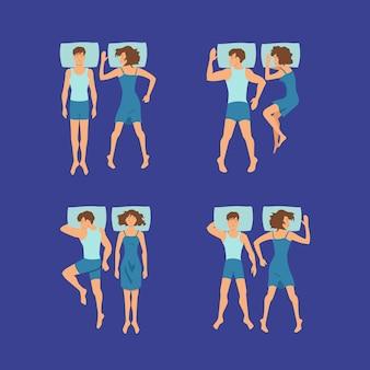 Ensemble de couple homme et femme dormant sur des oreillers pose illustration. couple se reposer et dormir au lit, homme et femme de rêve