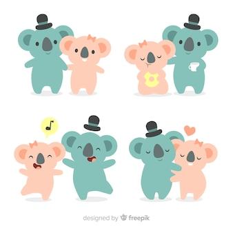 Ensemble de couple de koala dessinés à la main