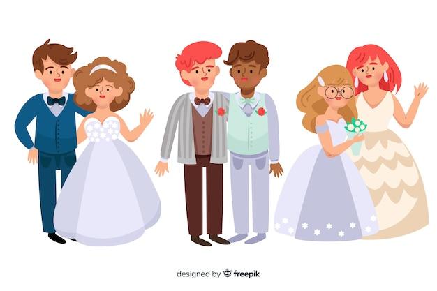 Ensemble de couple de mariage design plat