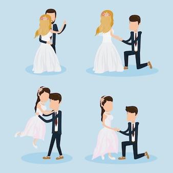 Ensemble de couple de mariage