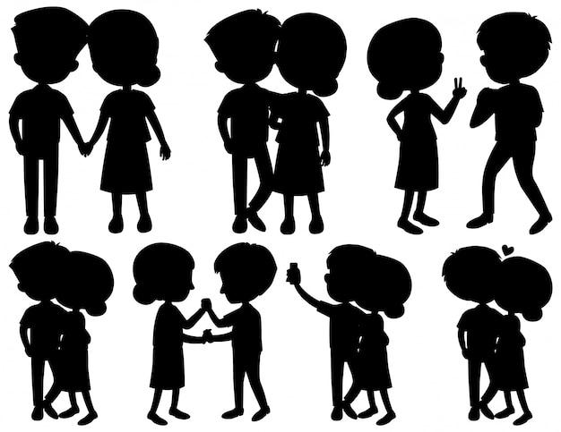 Ensemble de couple silhouette dansant sur fond blanc