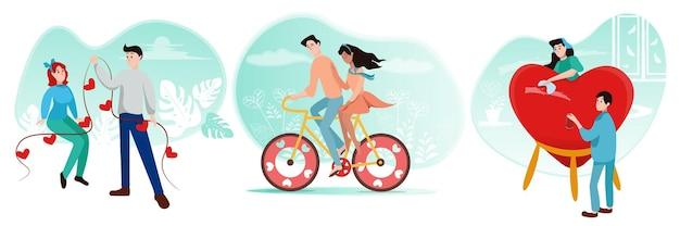 Ensemble de couples aimants en style cartoon, préparation pour la saint-valentin