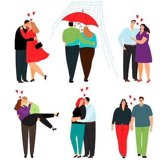 Ensemble de couples d'amour décontracté