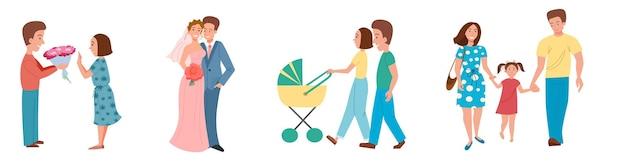 Un ensemble de couples à différentes étapes d'une relation la naissance d'une famille