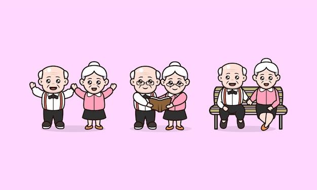 Ensemble de couples grands-parents journée internationale de la conception des personnages des personnes âgées
