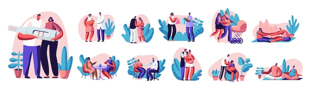 Ensemble de couples heureux attendant bébé et faisant de l'exercice dans la salle de sport. personnages féminins enceintes avec maris activité sportive de remise en forme ensemble. fitball, yoga, poses relaxantes. illustration vectorielle de gens de dessin animé