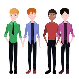 Ensemble de couples homosexuels plats pour l'infographie et votre conception