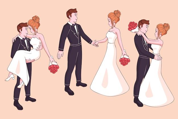 Ensemble de couples de mariage dessinés à la main