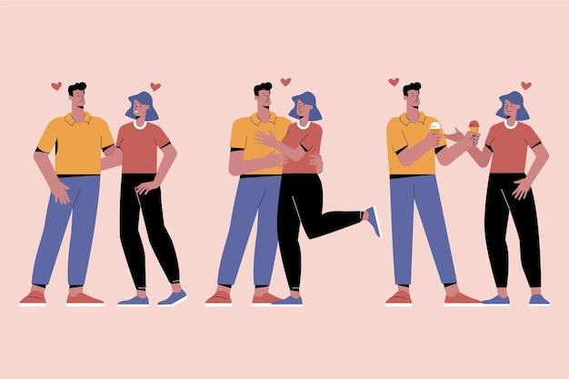 Ensemble de couples mignons illustrés