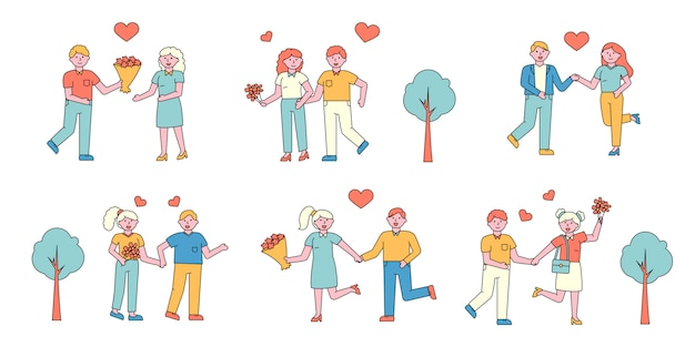 Ensemble de couples romantiques plats charers. les amoureux se rencontrent dans le parc.