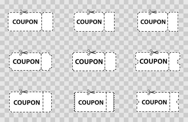Ensemble de coupon, billet. ensemble de coupons, remise, vente, bannières et étiquettes. coupon vierge découpé dans une feuille de papier. modèle de collecte billets et coupons