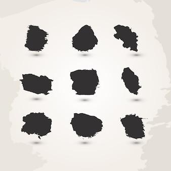 Ensemble de coups de pinceau aquarelle à la main noir