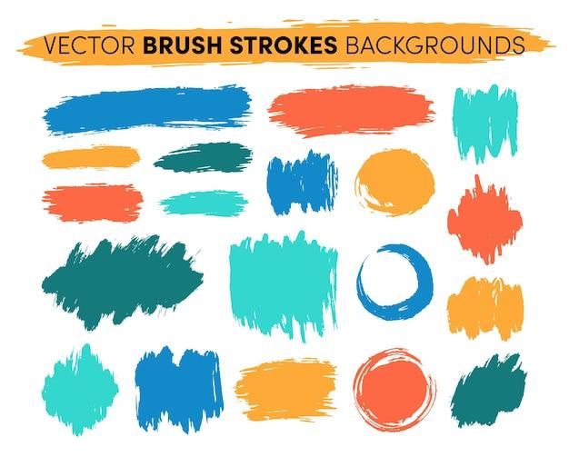Ensemble de coups de pinceau dessinés à la main. faits saillants des taches de peinture artistique grunge.