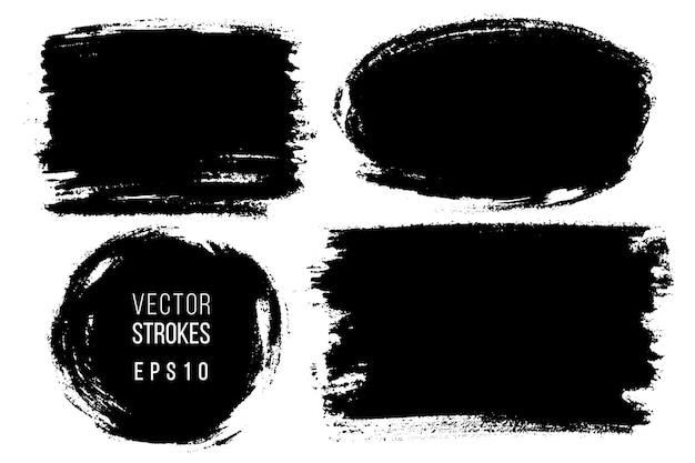 Ensemble de coups de pinceau dessinés à la main, taches pour toiles de fond. ensemble d'éléments monochromes. un arrière-plans dessinés à la main artistique monochrome.