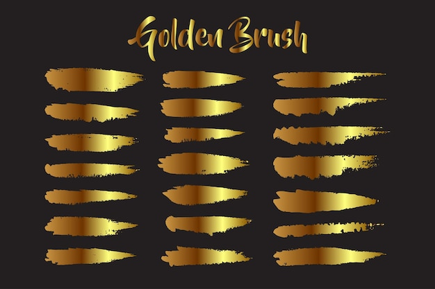 Ensemble de coups de pinceau doré à l'aquarelle à la main