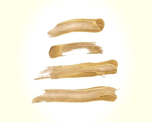 Ensemble de coups de pinceau doré à la main