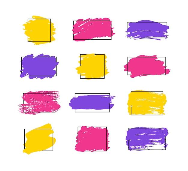 Ensemble de coups de pinceau. éléments de conception grunge. peinture dorée, encre, pinceaux, lignes, grungy. boîtes artistiques sales, cadres. lignes d'or isolées. illustration d'art texturé abstrait or scintillant.