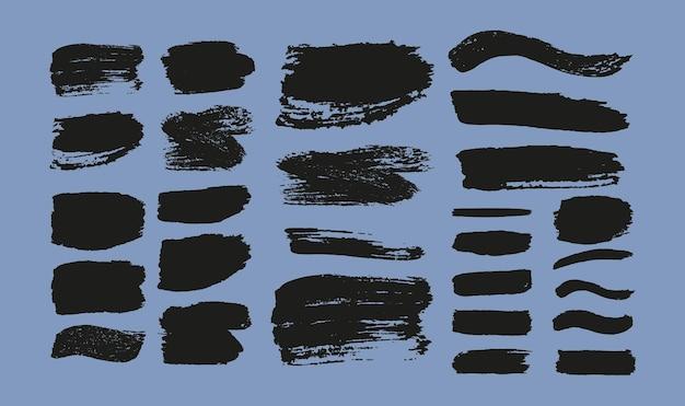 Ensemble de coups de pinceau. éléments de conception grunge. peinture noire