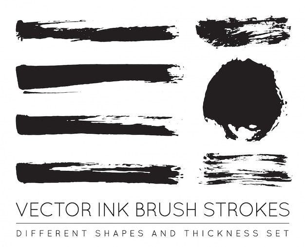 Ensemble de coups de pinceau d'encre stylo noir. coup de pinceau d'encre grunge. coup de pinceau sale.