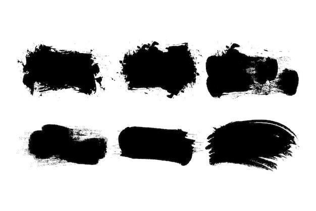 Ensemble de coups de pinceau grunge noir.