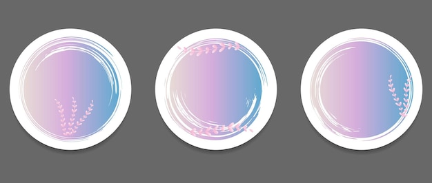 Ensemble de coups de pinceau sous la forme d'un cercle avec des branches sur fond blanc modèle de conception