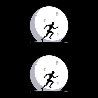 Ensemble de courir sur le logo de la lune
