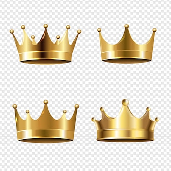 Ensemble couronne dorée sur fond transparent