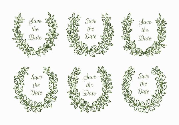 Ensemble de couronne de feuilles florales de mariage dessinés à la main