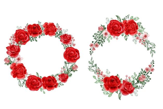 Ensemble de couronne de fleurs liberté rose rouge et feuilles