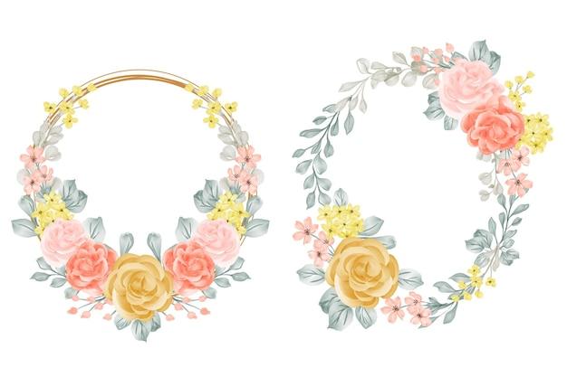 Ensemble de couronne de fleurs avec rose et feuilles