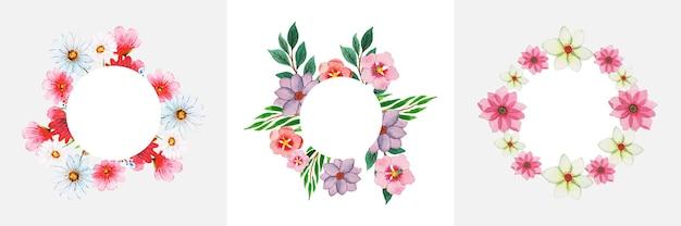 Ensemble de couronne florale aquarelle