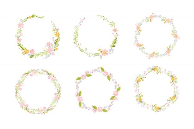 Ensemble de couronne d'herbes de fleurs de printemps