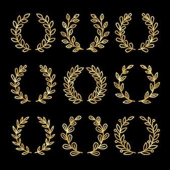 Ensemble de couronne linéaire en or