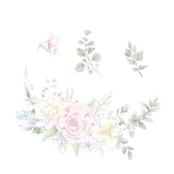 Un ensemble d'une couronne de roses et d'orchidées délicates. illustration aquarelle.