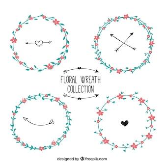 Ensemble de couronnes de fleurs dessinées à la main