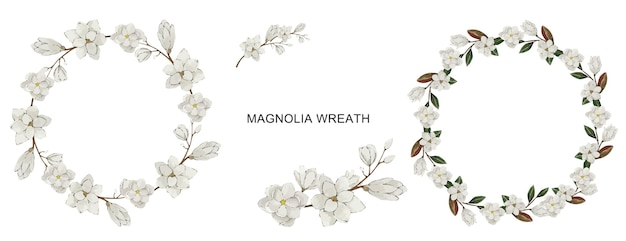 Ensemble de couronnes de fleurs de magnolia blanc