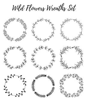 Ensemble de couronnes de fleurs sauvages