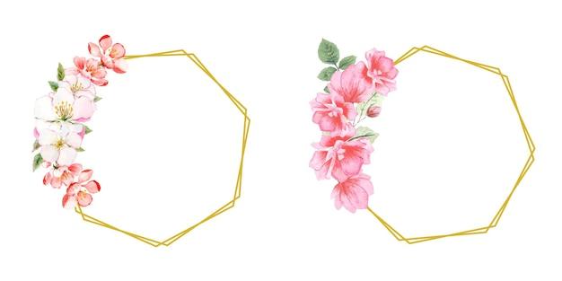 Ensemble de couronnes florales aquarelle à la main
