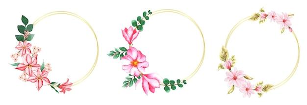 Ensemble de couronnes florales à l'aquarelle à la main
