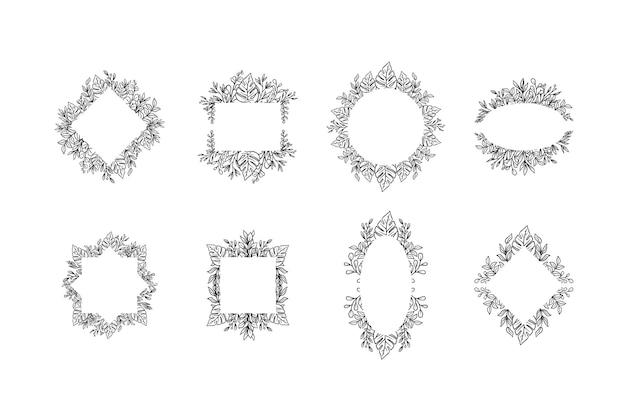 Ensemble de couronnes florales dessinées à la main
