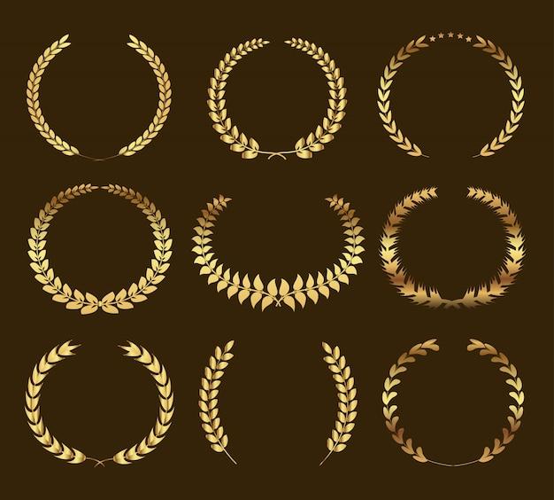 Ensemble de couronnes de laurier doré